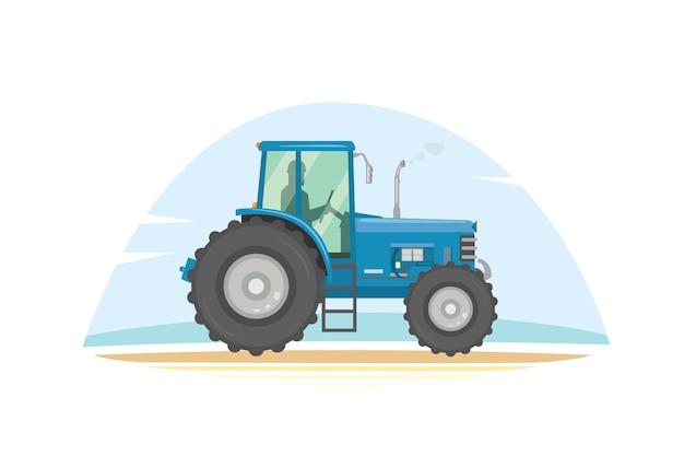 Illustrazione dell'icona del trattore agricolo. macchine agricole pesanti per il lavoro sul campo.