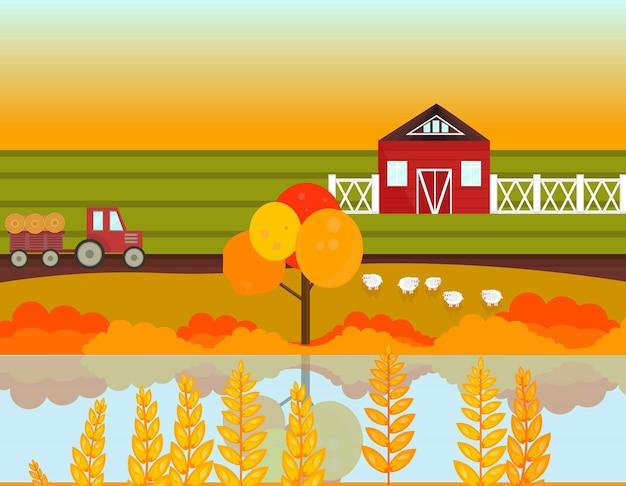 Stagione autunno villaggio di fattoria con sfondo lago. illustrazione vettoriale