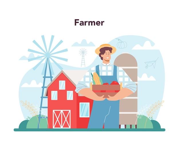 Lavoratore agricolo che coltiva piante e nutre gli animali