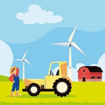 Lavoratore agricolo e trattore