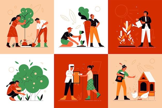 Set di composizioni di lavoratori agricoli