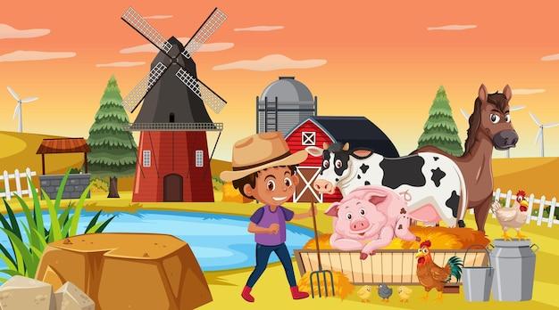 Un contadino nella scena della fattoria con gli animali della fattoria