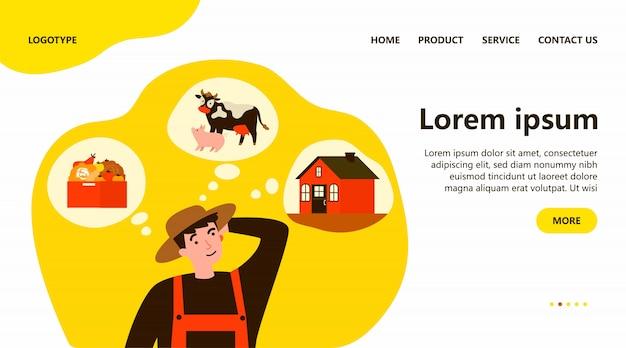 Agricoltore che sceglie tra agricoltura, allevamento di bestiame
