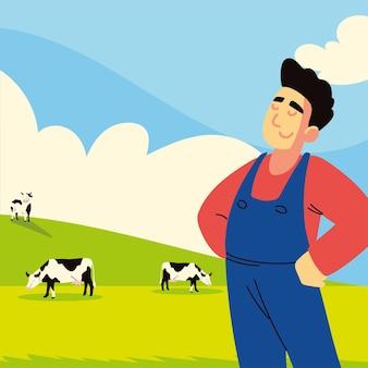 Contadino e mucca in campo