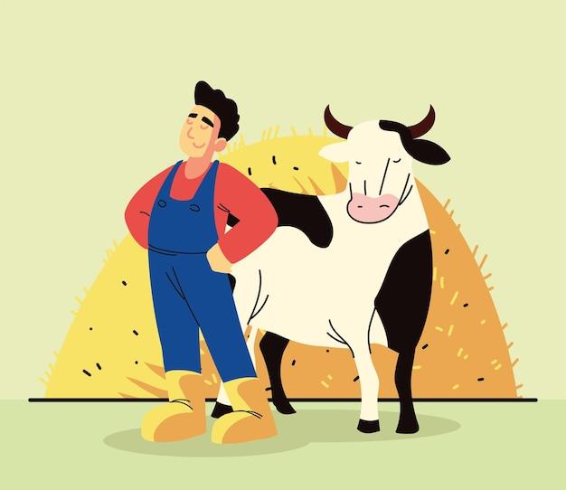 Contadino e mucca