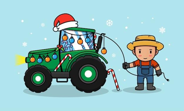 Il contadino decora il suo trattore per natale