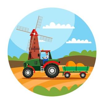 Agricoltore che guida il trattore nell'illustrazione del campo balle di fieno nel carrello