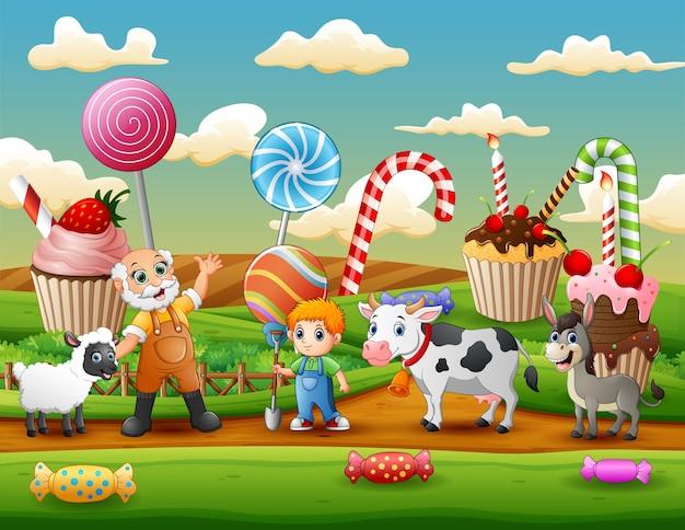 L'agricoltore e gli animali da fattoria nell'illustrazione dolce del giardino