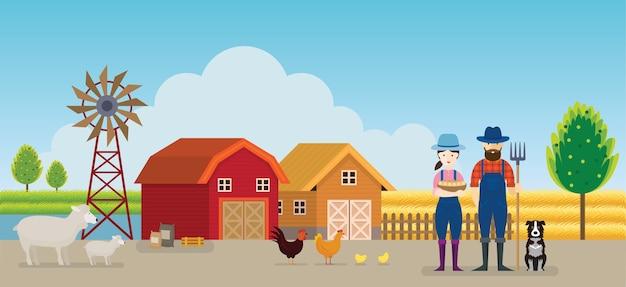 Agricoltore e fattoria con animali sullo sfondo del paesaggio