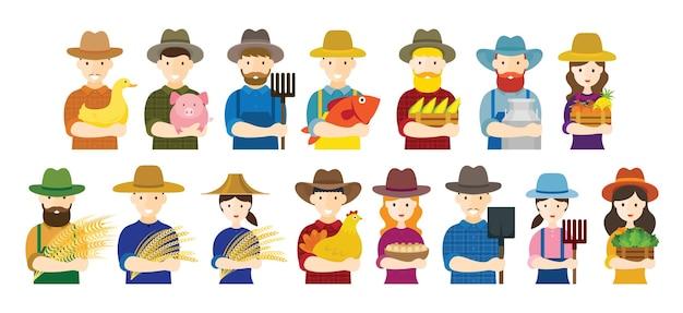 Agricoltore, giardiniere, personaggi tengono insieme di prodotti agricoli