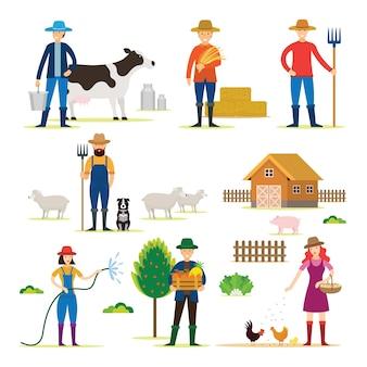 Agricoltore, giardiniere, personaggi con set di prodotti agricoli