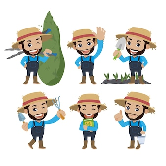 Contadino e giardiniere con pose diverse