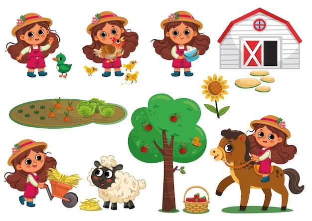 Set di caratteri ragazza e animali contadino su sfondo bianco illustrazione vettoriale