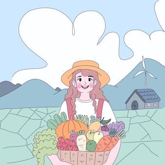 Ragazza contadina nella sua illustrazione di fattoria