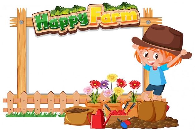 Ragazza del coltivatore con piante in fattoria felice
