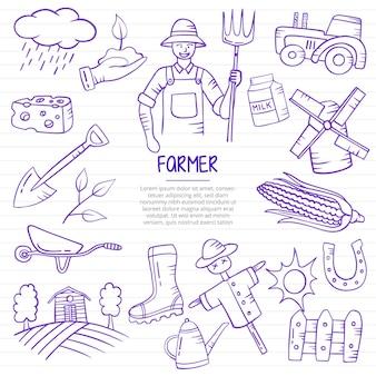 Lavori di agricoltore o scarabocchi professionali di carriera disegnati a mano con stile contorno su vettore di linea di libri di carta