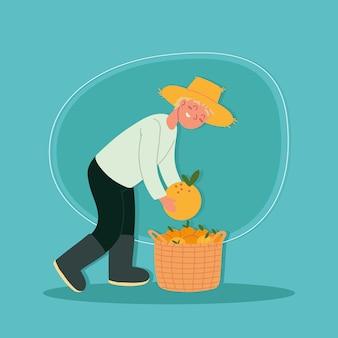 Contadino che raccoglie arance