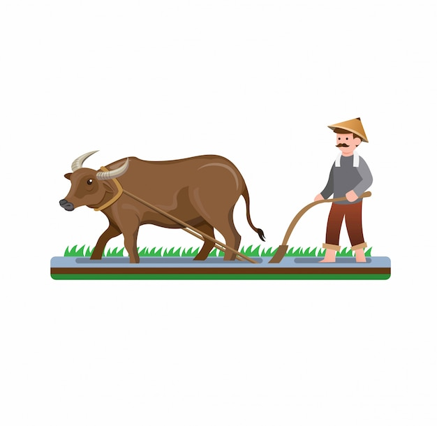 Risaia d'aratura dell'uomo dell'agricoltore con il vettore piano dell'illustrazione del fumetto del bufalo d'acqua isolato