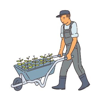 Uomo del coltivatore che cammina con la carriola in metallo con piante verdi - uomo del fumetto in tuta che spinge il carrello con le piantine in un'altra posizione
