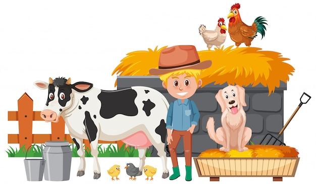 Agricoltore e molti animali da allevamento su sfondo bianco
