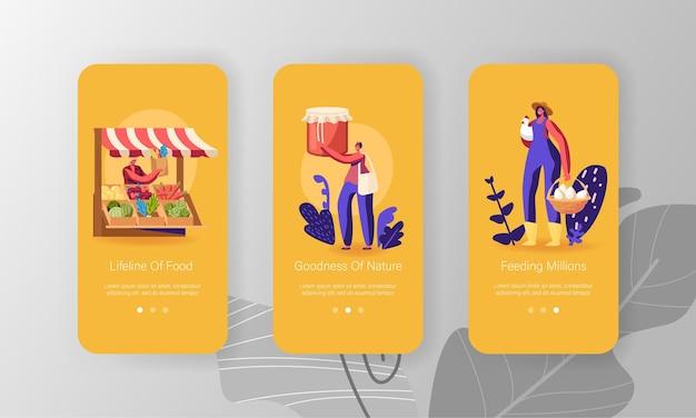 Set schermo a bordo pagina dell'app mobile del mercato degli agricoltori.