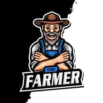 Gioco di esport del logo della mascotte del contadino