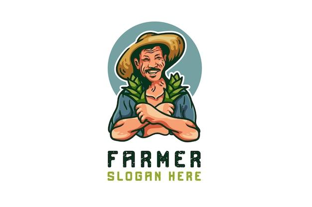 Logo mascotte contadino