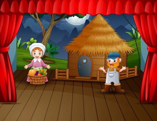 L'agricoltore che esegue sul palco illustrazione