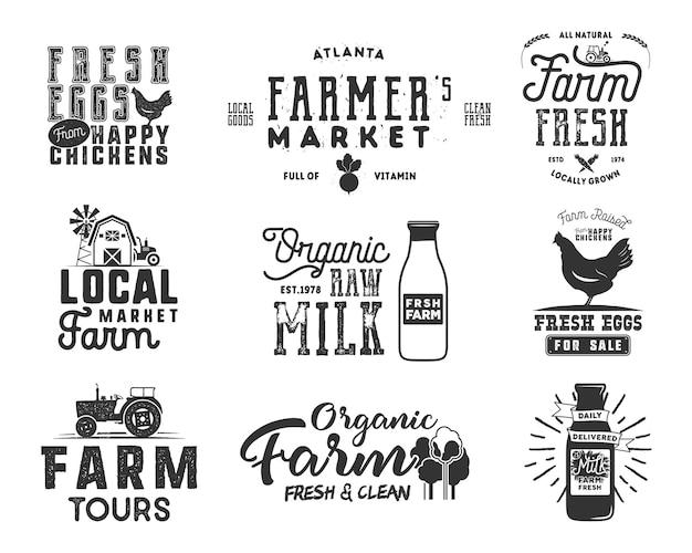 Set di distintivi per il mercato contadino, alimenti biologici, latte e uova. disegni di loghi di prodotti freschi e locali. insegne tipografiche eco farm in stile monocromatico. isolato su sfondo bianco. patch vettoriali.