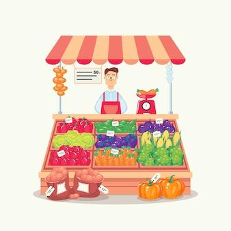Agricoltore che vende prodotti vegetali in una stalla