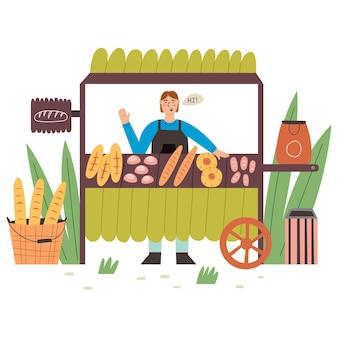 L'agricoltore vende prodotti da forno ai banchi della bancarella. illustrazione piana di vettore moderno nello stile del fumetto