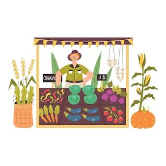 Un agricoltore vende verdure ai banchi di stallo. illustrazione piana di vettore moderno nello stile del fumetto