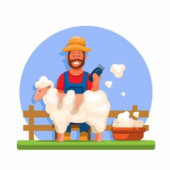 Vettore dell'illustrazione del fumetto di tosatura delle pecore delle pecore dell'agricoltore
