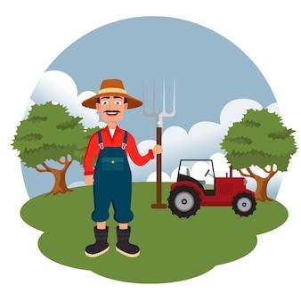 Agricoltore in piedi accanto al trattore