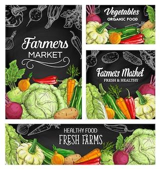 Manifesti di schizzo di verdure coltivatore