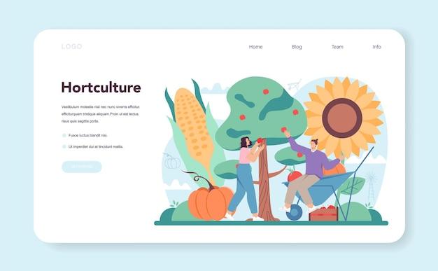 Banner web agricoltore o pagina di destinazione lavoratore agricolo che coltiva piante