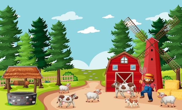 Contadino con fattoria degli animali nella scena della fattoria in stile cartone animato