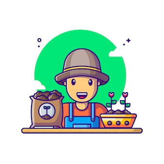Agricoltore con illustrazione del fumetto di attrezzature. concetto di festa del lavoro bianco isolato. stile cartone animato piatto