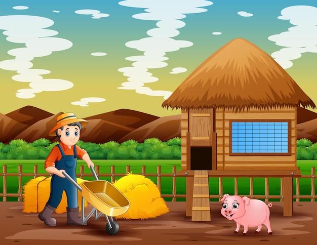 Un contadino che lavora nel paesaggio della fattoria