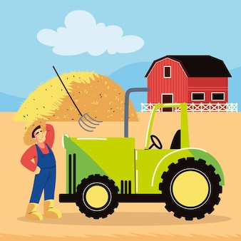 Contadino che lavora in fattoria