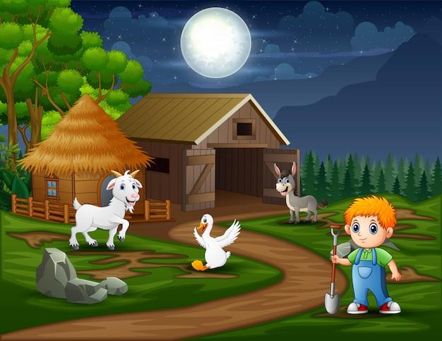 Un contadino che lavora nel paesaggio notturno