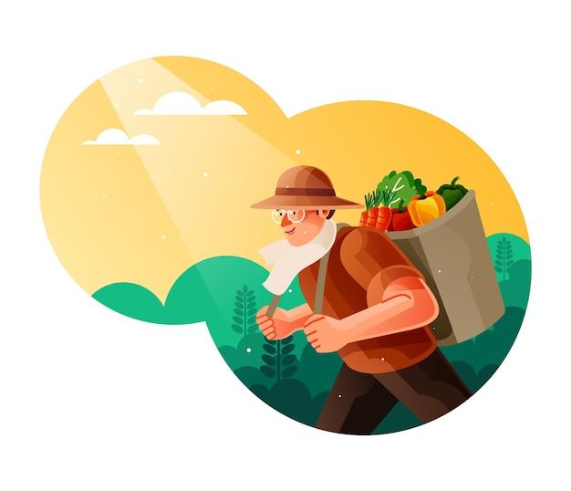Gli agricoltori portano i loro raccolti di ortaggi