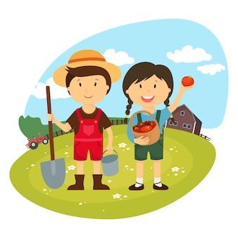 Cartoon di agricoltori che lavorano nelle fattorie, personaggi giardiniere, fattoria fresca
