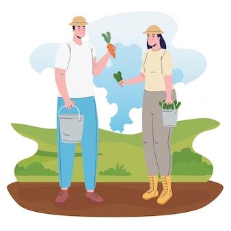 Coppia di agricoltori nell'illustrazione di personaggi di avatar di campo
