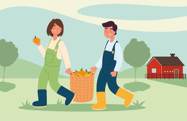 Coppia di contadini con le arance