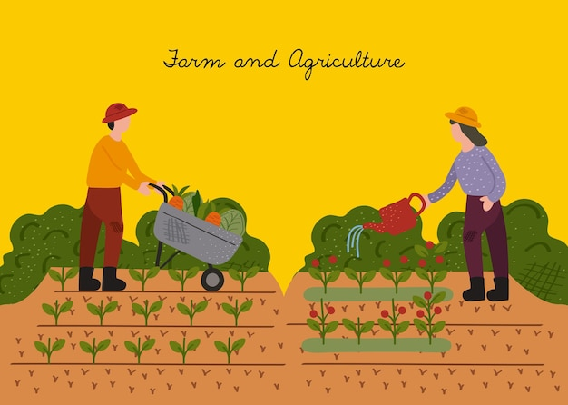 Coppia di agricoltori che lavorano nel disegno di illustrazione vettoriale scena cultuale