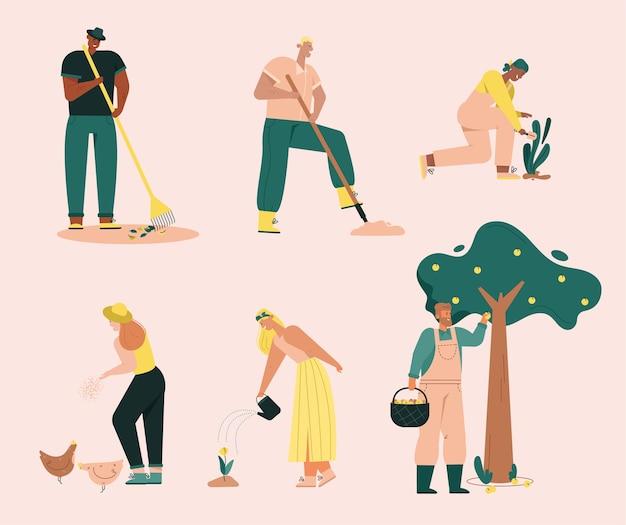 Agricoltori che svolgono lavori agricoli. l'uomo rastrella le foglie, scava la terra, raccoglie le mele dall'albero. la donna nutre polli, piante da giardinaggio, annaffiando fiori