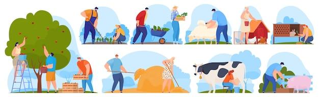Agricoltori nella fattoria, lavoratori agricoli, raccolgono frutta e verdura.