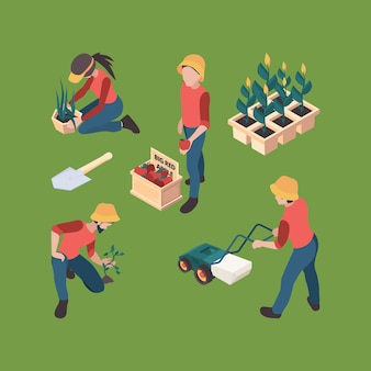 Isometrica degli agricoltori. la gente dei giardinieri ha coltivato l'insieme di agricoltura dei caratteri di vettore dell'azienda agricola di lavoro all'aperto professionale