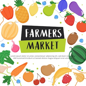 Fondo del mercato degli agricoltori con frutta e verdura e lettere disegnate a mano
